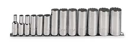 Socket Set, SAE, 3/8 in. Dr, 13 pc