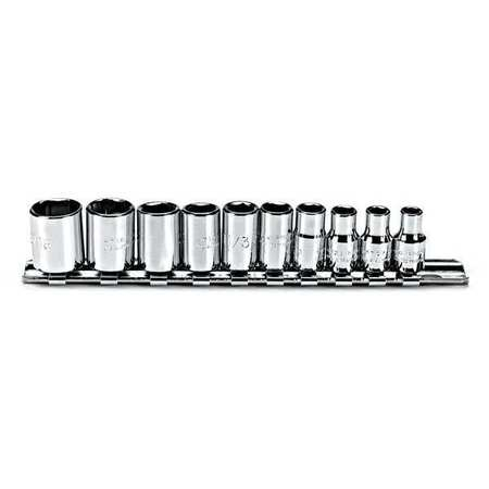 Socket Set, SAE, 1/4 in. Dr, 10 pc