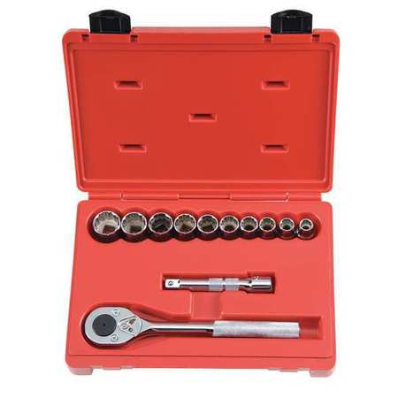 Socket Wrench Set, SAE, 1/2 in. Dr, 12 pc