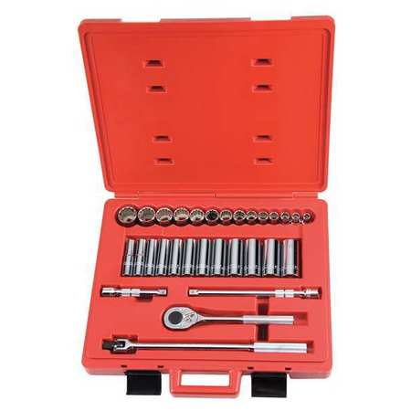 Socket Wrench Set, SAE, 1/2 in. Dr, 30 pc