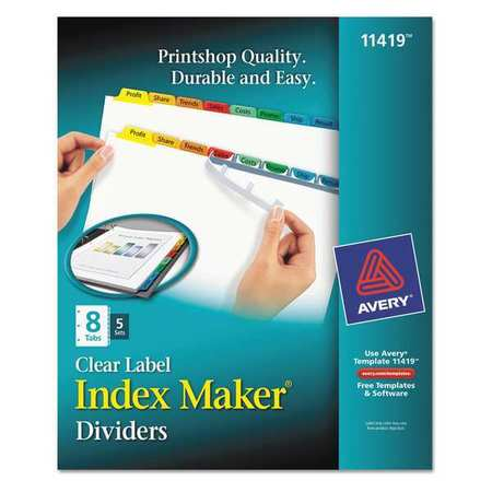 avery printable index dividers 8 tabs clear with color 11419