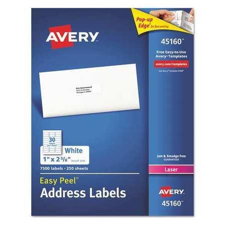 avery label laser 30 up white pk7500 45160 zoro com