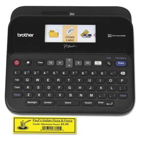 brother p-touch p-touch label maker, 24mm, black ptd600 | zoro