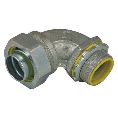 Insulated Connector, 1/2 In., Iron, 90 Deg