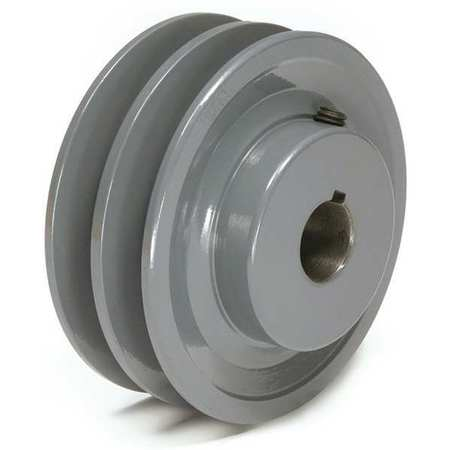 "1-1/8"" Fixed Bore 2 Groove V-Belt Pulley 4.45"" OD"