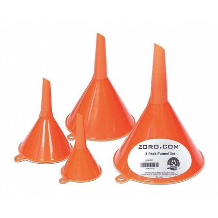 Funnel Set,  3/4 oz., 2 oz., 6 oz., 10 oz.
