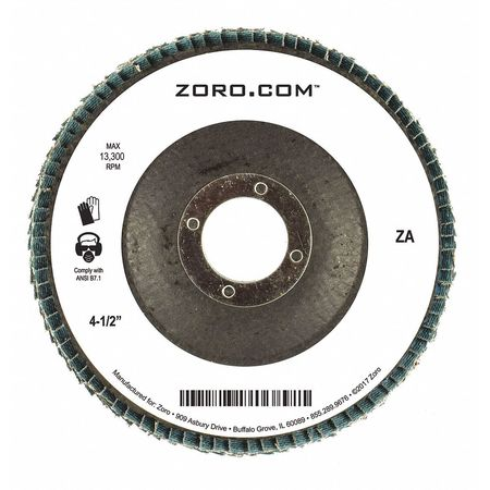 "4-1/2"" Flap Disc,  Type 29,  7/8"" Mounting Hole,  40 Grit,  Zirconia Alumina"