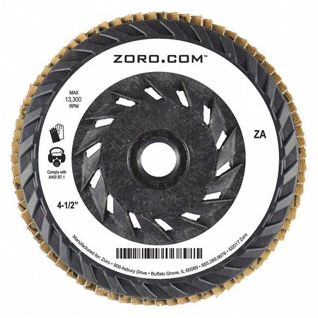 "4-1/2"" Flap Disc,  Type 27,  5/8""-11 Mounting Hole,  40 Grit,  Zirconia Alumina"