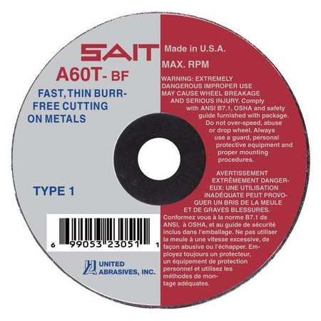 "CutOff Wheel, A60T, 3""x1/16""x1/4"", 25000rpm"