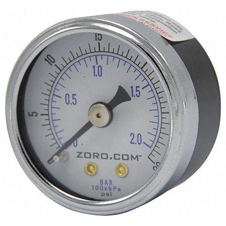 "Pressure Gauge, 0-30, 1.5"" CBM, 1/8"" NPT"