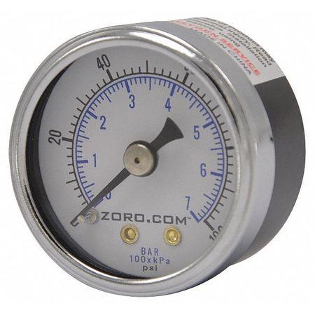 "Pressure Gauge, 0-100, 1.5"" CBM, 1/8"" NPT"