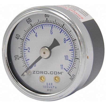 "Pressure Gauge, 0-160, 1.5"" CBM, 1/8"" NPT"