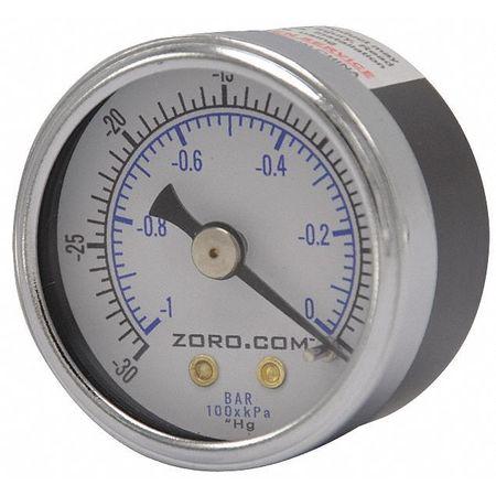 """Vacuum Gauge, 30-0, 1.5"""" CBM, 1/8"""" MNPT"""