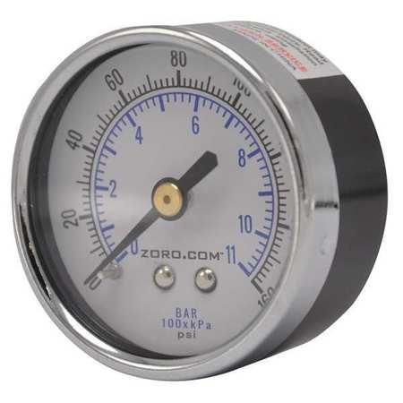 "Pressure Gauge, 0-160, 2"" CBM, 1/4"" NPT"