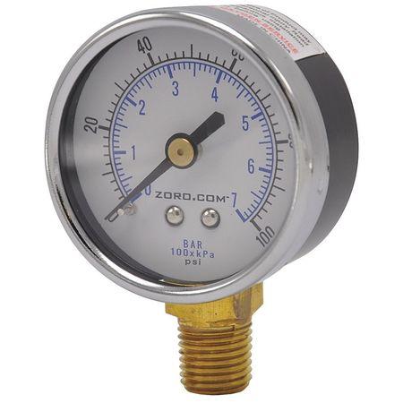 """Pressure Gauge, 2"""", 0-100, LM, 1/4"""" NPT"""