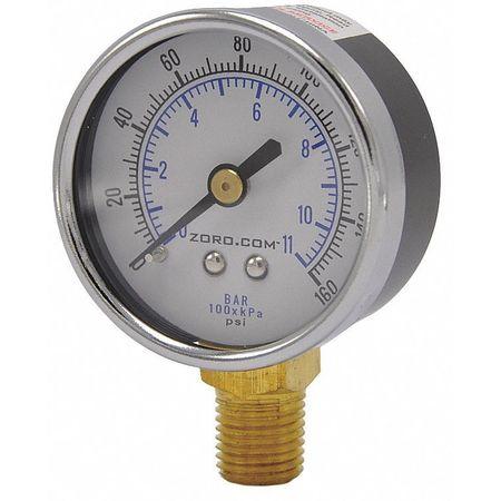 """Pressure Gauge, 2"""", 0-160, LM, 1/4"""" NPT"""