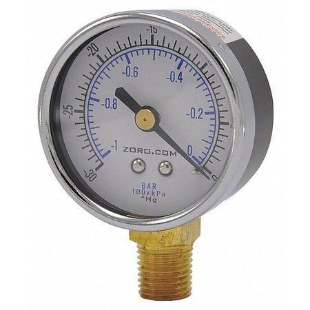 """Vacuum Gauge, 2"""", 30-0, LM, 1/4"""" NPT"""