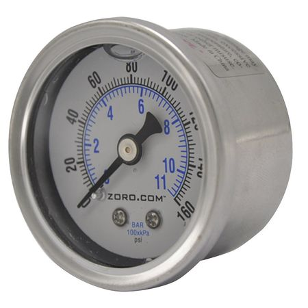 """Pressure Gauge, 1.5"""", SS, 0-160, 1/8"""" NPT LF"""