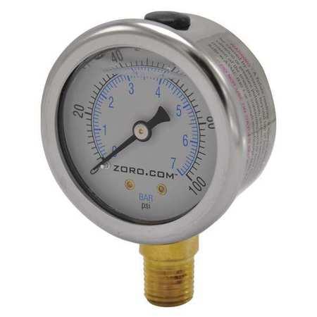 """Pressure Gauge, 2"""", SS, 0-100, 1/4"""" NPT LF"""