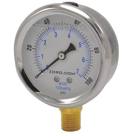 """Pressure Gauge, 2.5"""", SS, 0-100, 1/4"""" NPT LF"""