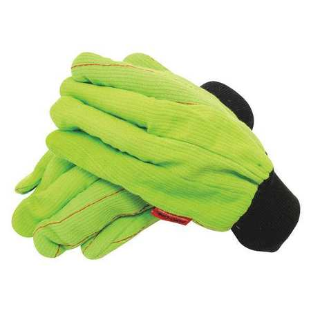 Large Black/Lime Knit Wrist Cuff High Visibility Gloves
