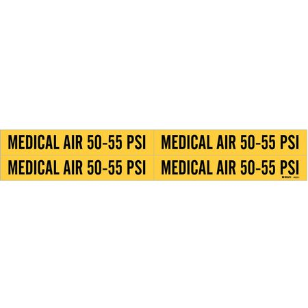 Pipe Marker, Medical Air 50 to 55 psi, Yel