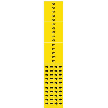 Pipe Marker, Hot, Yellow, 3/4 In or Less