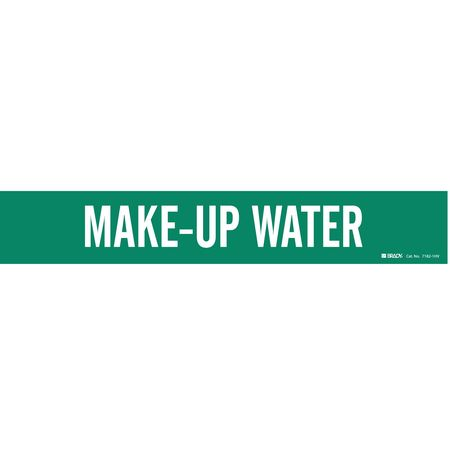 Pipe Marker, Make Up Water, Gn, 8 In orGrtr