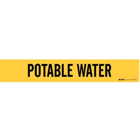 Pipe Marker, Potable Water, Y, 8 In or Lrgr