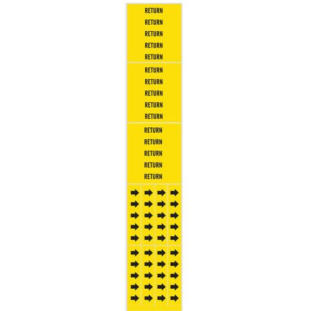 Pipe Marker, Return, Yellow, 3/4 In or Less