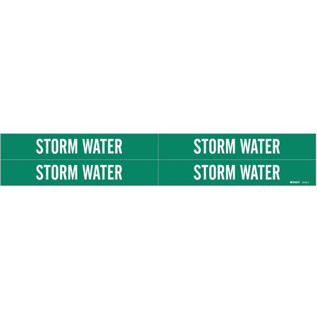 Pipe Marker, Storm Water, Gn, 3/4to2-3/8 In