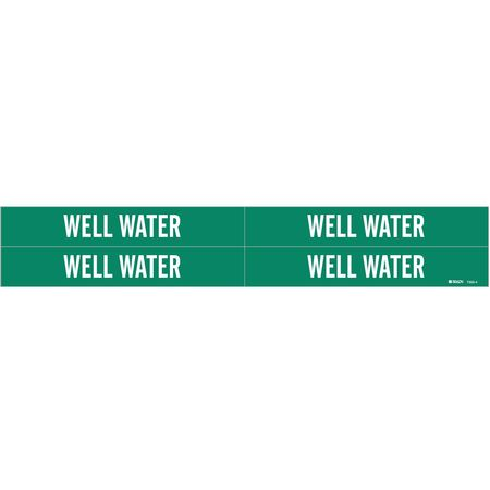 Pipe Marker, Well Water, Gn, 3/4 to2-3/8 In