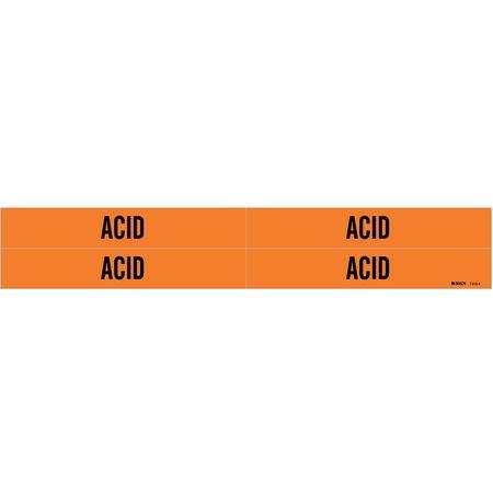 Pipe Marker, Acid, Orange, 3/4 to 2-3/8 In