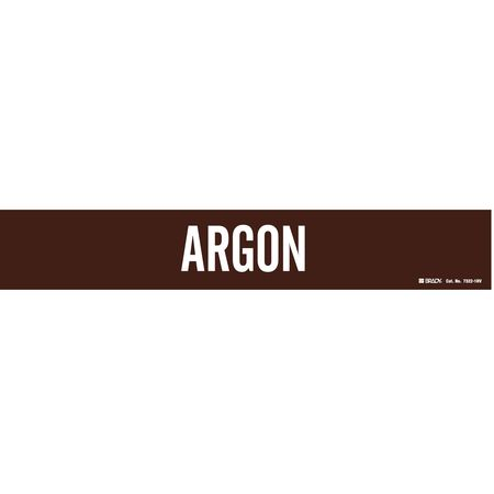Pipe Marker, Argon, Brown, 8 In or Greater