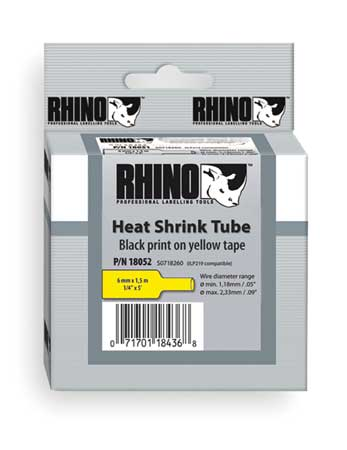 "Heat Shrink Tube Label 3/8"" x 60""H,  Black on Yellow"