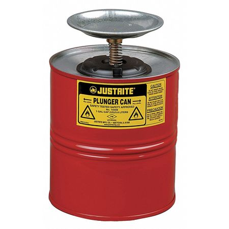 Plunger Can, 1 Gal., Galvanized Steel, Red