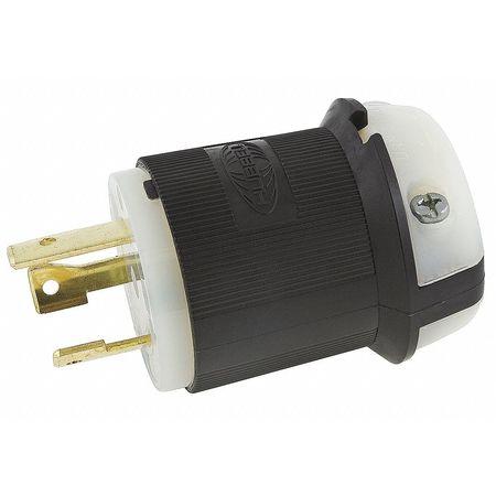 30A Locking Plug 2P 3W 250VAC L6-30P BK/WT