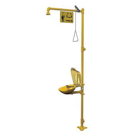 Drench Shower With Eyewash, Yellow