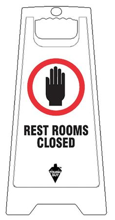 Floor Sign, English, Rest Rooms Closed, Wht