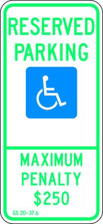 Parking Sign, 26 x 12In, GRN and BL/WHT