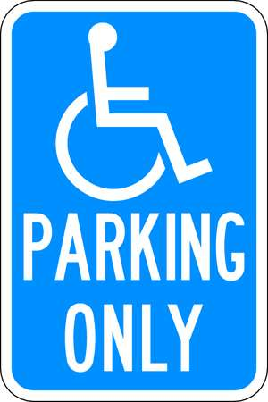 Parking Sign, 18 x 12In, WHT/BL, HDCP