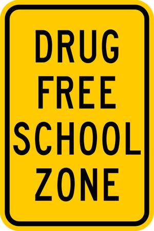 School Zone Sign, 18 x 12In, BK/YEL, Text