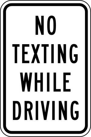 Traffic Sign, 18 x 12In, BK/WHT, Text