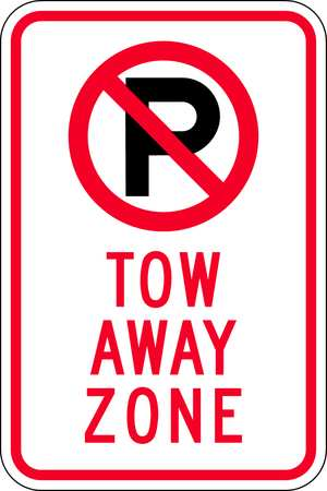 Parking Sign, 18 x 12In, R and BK/WHT