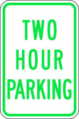 Parking Sign, 18 x 12In, GRN/WHT, Text