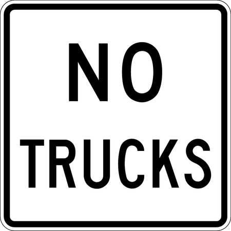 Traffic Sign, 24 x 24In, BK/WHT, No Trucks