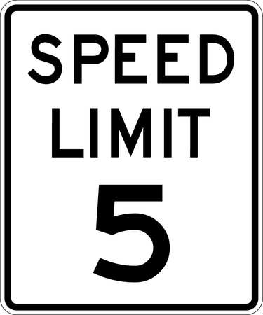Traffic Sign, 24 x 18In, BK/WHT, SP LIM 5