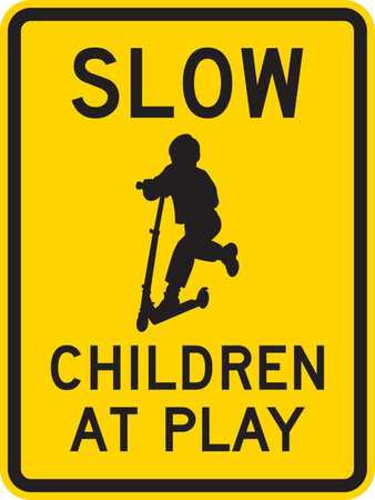 Traffic Sign, 24x18, Slow Children At Play