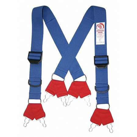 Fire Fighting Pant Suspenders,  Blue/Red,  Non Flame Resistant Cotton And Elastic Webbing,  Short