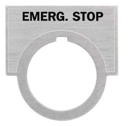 Legend Plate, Emerg Stop, Brushed Aluminum